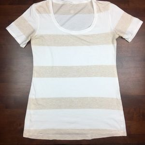 Lululemon tan white striped tee size 6
